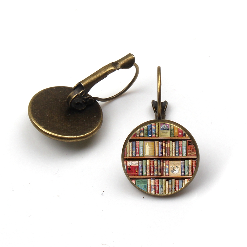 New retro books photo earrings lovers jewelry librarians bookshelf earring gifts writers students teacher Pendant nerd gifts
