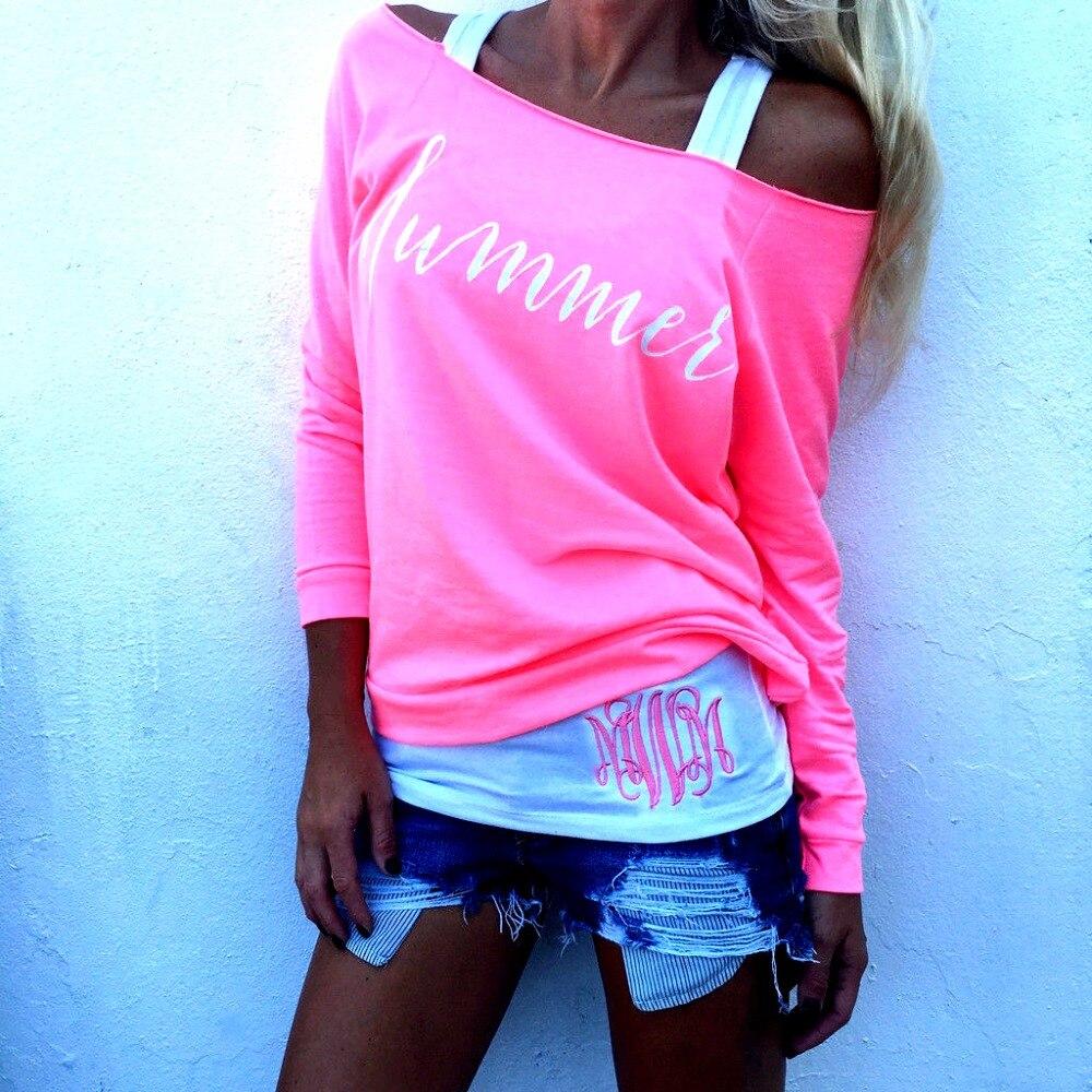 2017 fashion summer sexy t shirt women tops full sleeve slash neck off shoulder pink letter