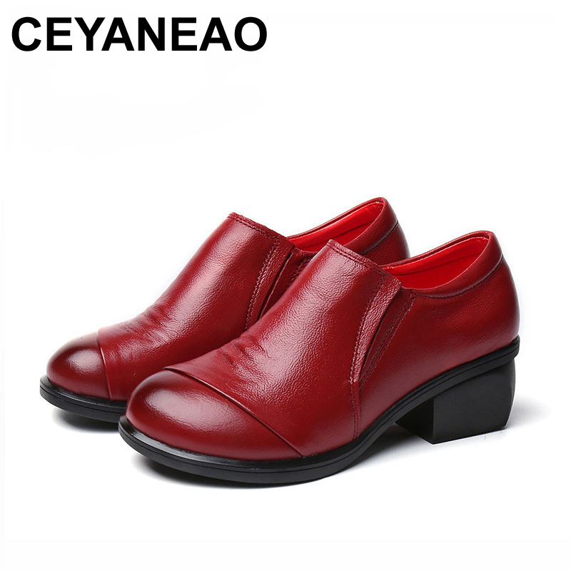 CEYANEAO 2018 Pleated Genuine Leather Women Shoes Spring Autumn Soft Thick Heel Women Pumps Shoes Round Toe Cow Leather 2018 new pleated genuine leather women