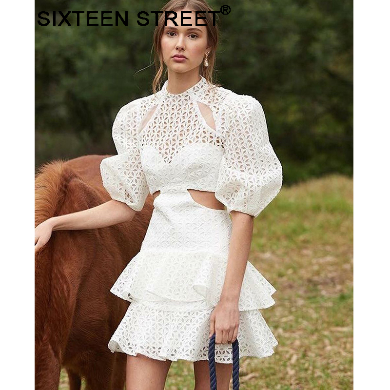 New Summer Woman Dresses Cotton And Linen Short Puff Sleeve Hollow Embroidery Mini Dress Lady 2019 Vestido Female