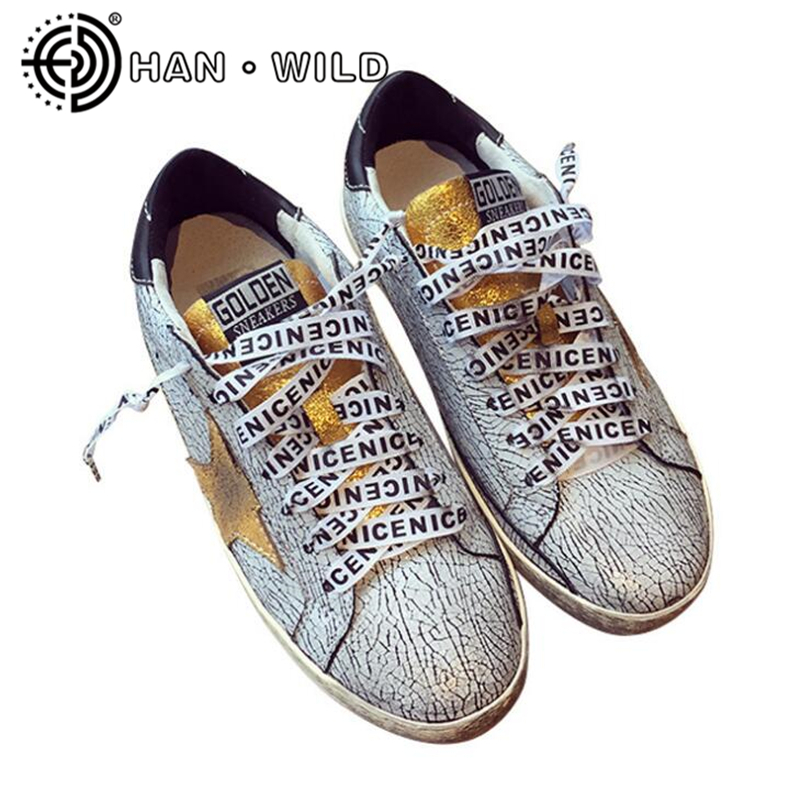 Burst Crack Leather Women Golden Star Casual Shoes Vintage Do Old Dirty Shoe Distressed Leather Lace Up Women Flats Goose Shoes woman burst leather casual shoes golden star women do old dirty shoes female lace up distressed leather vintage flat shoes