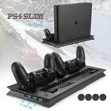 PS4 ТОНКАЯ вертикальная подставка охлаждающий вентилятор и двойной USB зарядное устройство зарядная док-станция с 3 дополнительными концентраторами для Playstation 4 PS4 Slim+ 4 крышки