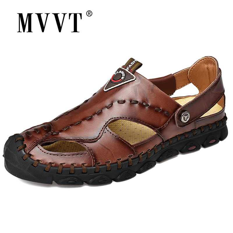 2019 Fashion Genuine Leather Sandals Men Summer Shoes Lightweight Comfort Men Beach Sandals Leather Men Shoes Plus Size(China)