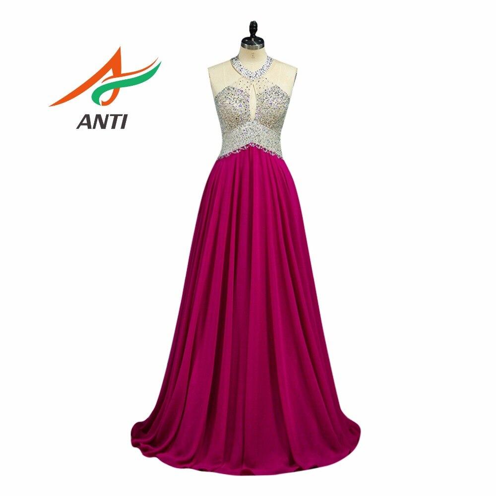 ANTI mode Rose rouge Robe De soirée longue 2019 luxe perles sans manches Robe De soirée pour robes De mariée