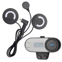 1 Pcs BT Helmet Bluetooth Interphone Motorcycle Headset Intercom With LCD Screen FM Radio For 3