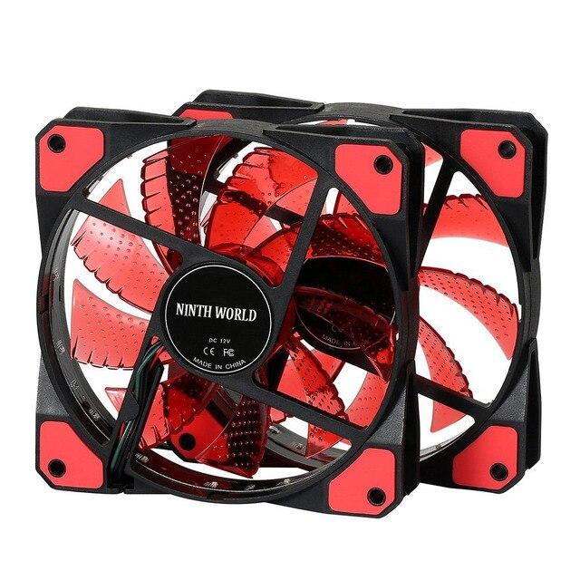 120mm PC Computer 16dB Ultra Silent 15 LEDs Case Fan Heatsink Cooler Cooling w/ Anti-Vibration Rubber,12CM Fan,12VDC 3P IDE 4pin 1