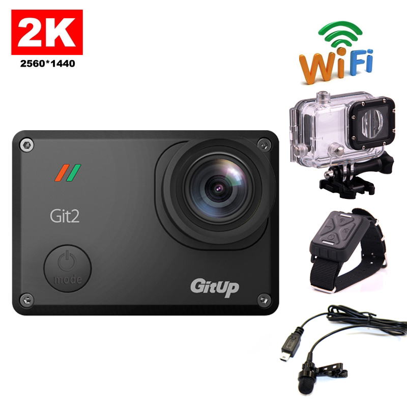 Free shipping!!GitUp GIT2 2K WiFi Camera 30fps 1080P Action Outdoor Sports Action Camera+Extra Microphone+Wrist Remote Control f88 action camera black