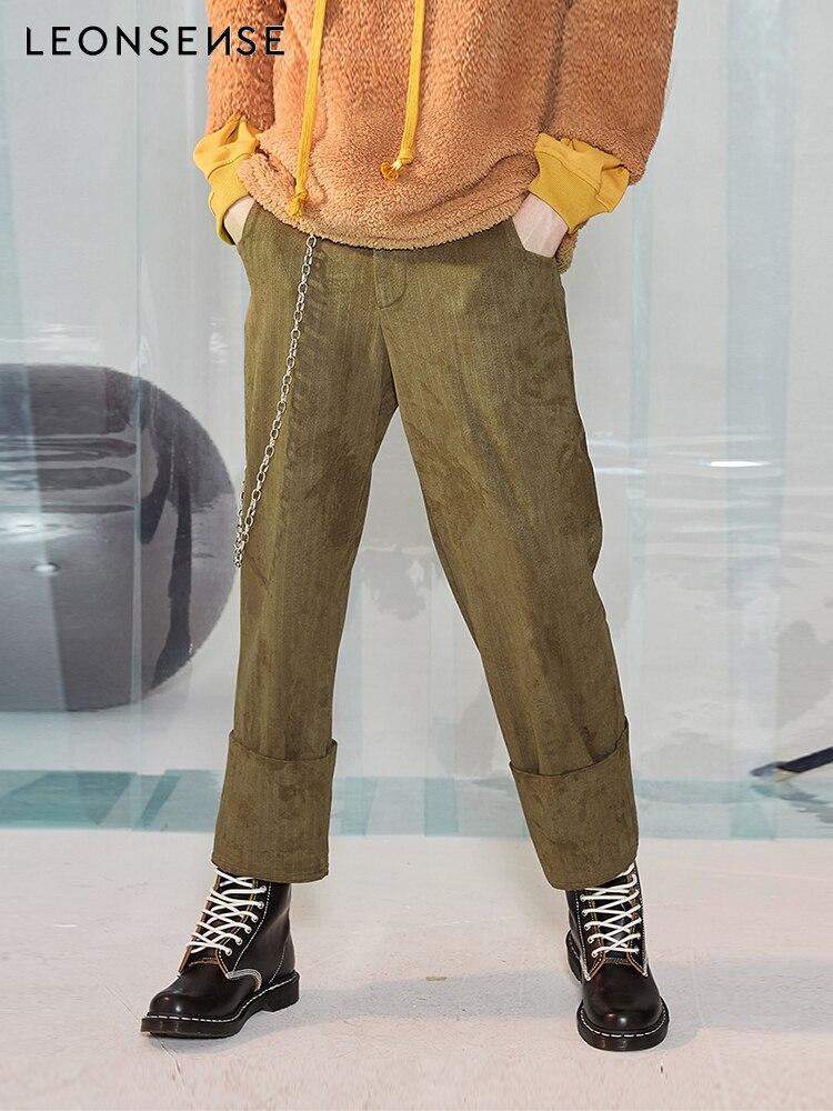 LEONSENSE Marque de mode Lâche pantalon hiver hommes pantalon en daim style hommes pantalon Casual Moyen Loisirs taille basse jambe Large pantalon