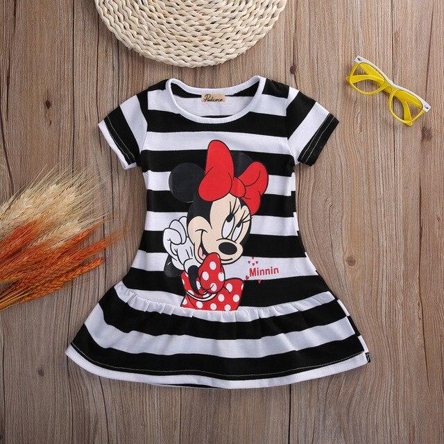 Милые Детские платья для маленьких девочки, детская одежда, летнее Короткое мини-платье с героями мультфильмов, детская одежда для малышей