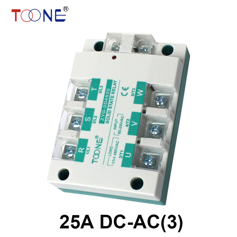 ZYG-3D4825 Free shipping 25A DC control AC SSR three phase Solid state relay normally open single phase solid state relay ssr mgr 1 d48120 120a control dc ac 24 480v