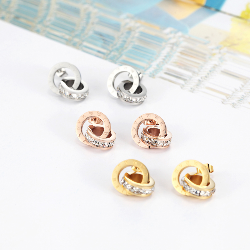 Top Quality Titanium Steel Double Loop Wound Elegant And Charming Roman Numerals Crystal Stud Earrings For Women Gift Jewelry