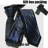 Lingyao unique designer tie Fashion men skinny necktie Black with blue diagonal stripes