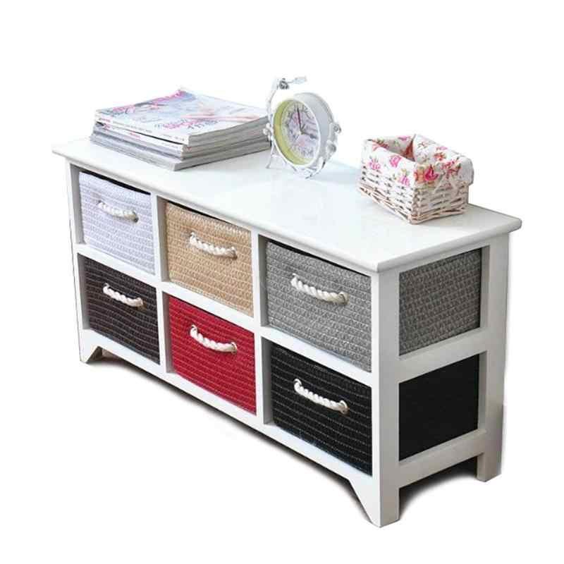 Korean pastoral solid wood white bedside cabinet simple bedroom storage cabinet rattan drawer drawer storage cabinet