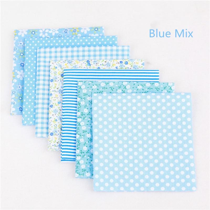 BLUE HOUSES MIX BUNDLE PATCHWORK FABRIC MATERIAL SQUARES
