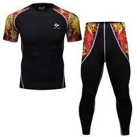 Mens Fashion 3D Printed Splice Pants T Shirt Sets Crossfit Short Sleeve Tshirt Fitness Compression Joggers