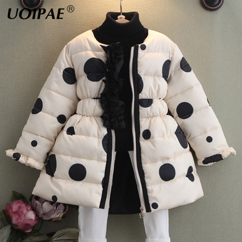 UOIPAE 2018 Girls Winter Jacket Fashion Polka Dot Coat For Girls Children Long Sleeve Plus Thick Velvet Cute Kids Clothes B0672 gathered sleeve polka dot top