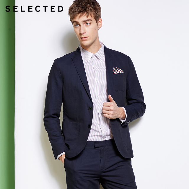 SELECTED Men's Cotton and Linen Blazer S|418272505