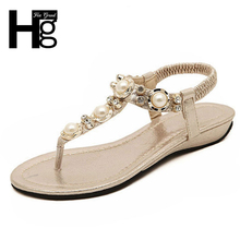 HEE GRAND 2017 Summer New Bohemia Wedge Women Sandals Rhinestone Woman Flip Flops Vintage Women Shoes Beach XWT320
