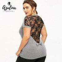 f1691655cb520 AZULINA Plus Size Women T Shirt Summer Sheer Lace Bowknot Short Sleeve O Neck  T-
