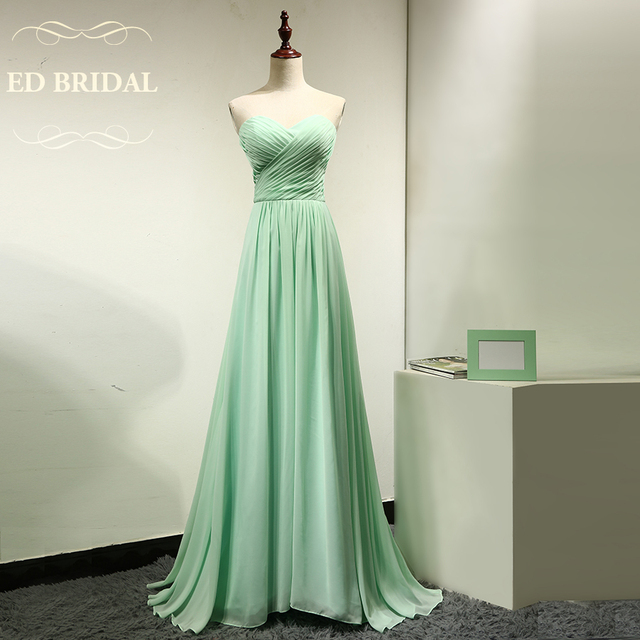 Custom Made Sweetheart Chiffon Long Mint Green Bridesmaid Dress Maid Of Honor Party