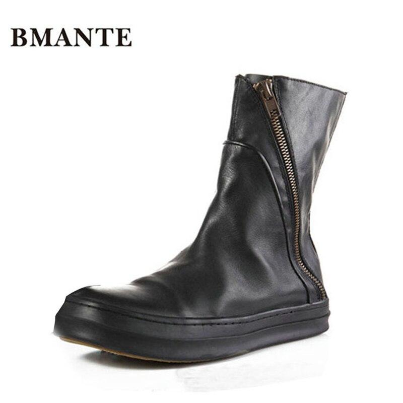Натуральной кожи известный бренд мода мужской свободного покроя обувь высокая высокие Толстой подошве сапоги Харадзюку мужчины стиль искусственный мех UG Австралия