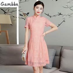 2019 Лето Современная Cheongsam Для женщин короткие кружевные Ципао китайское платье Qi Pao вечерние Винтаж аозай элегантное платье Высокое