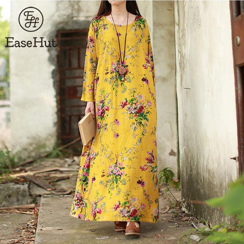 EaseHut 2019 New Vintage Women Maxi Floral Dress Plus Size Long Sleeves Pockets O Neck Cotton Linen Loose Robe Dresses vestidos