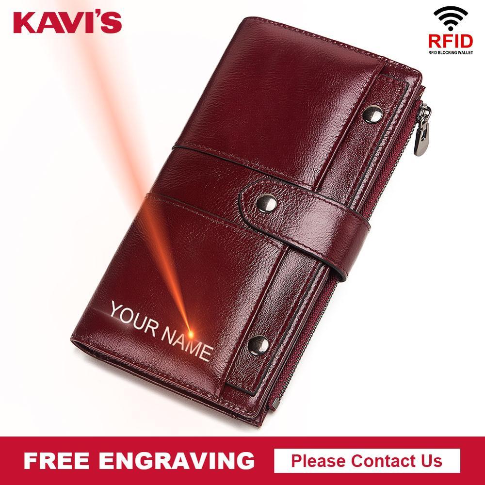 KAVIS Free Engraving Genuine Leather Wallet Women Vintage PORTFOLIO Female Portomonee Perse Coin Purse Long Handy Vallet Girls