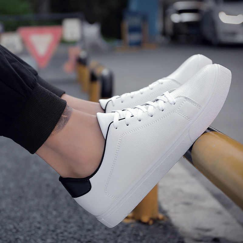 LAISUMK lato nowy mężczyźni na co dzień płaskie buty sznurowane wygodne tenis masculino adulto męskie białe buty wsuwane
