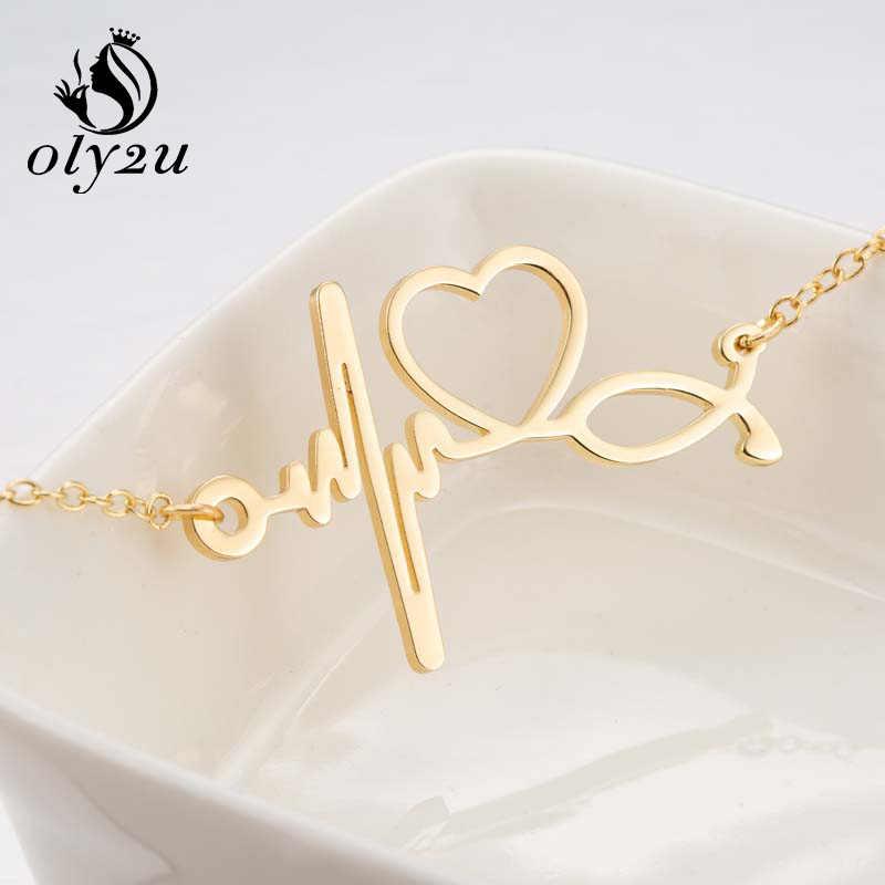 Oly2u złoty Charm bransoletka regulowany Link Chain bransoletki dla kobiet bransoletka homme ze stali nierdzewnej bicie serca wisiorek – biżuteria