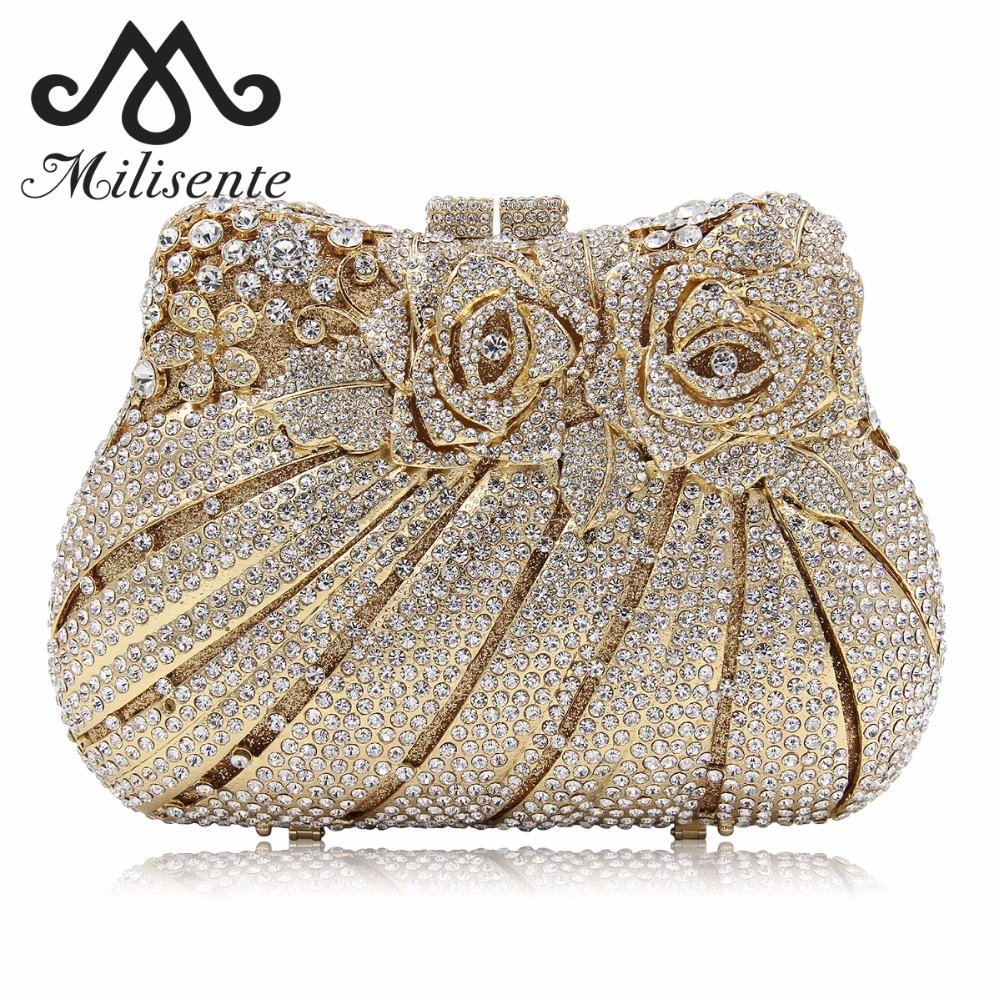 Milisente Flower Women Rose Flower Luxury Evening Bag Ladies Wedding Clutch Bags Party Clutches Purses milisente high quality luxury crystal evening bag women wedding purses lady party clutch handbag green blue gold white