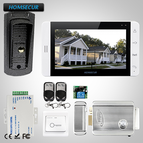 HOMSECUR 7 Wired Video Door Phone Intercom System Electric Lock+Keys Included L3:TC041 Camera+TM703-W Monitor (White)+Lock t handle vending machine pop up tubular cylinder lock w 3 keys vendo vending machine lock serving coffee drink and so on