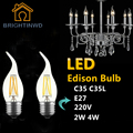 LED Bulb E27 Retro Lamps 220V 240V LED Filament Light E27 Glass Ball Bombillas LED Bulb Edison Candle Light C35 C35L 2W 4W
