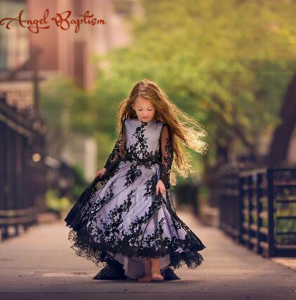 Black and white flower girl dress toddler pageant little girl evening prom party gown long sleeves laces kid graduation dresses ball gown sky blue open back with long train ruffles tiered crystals flower girl dress party birthday evening party pageant gown
