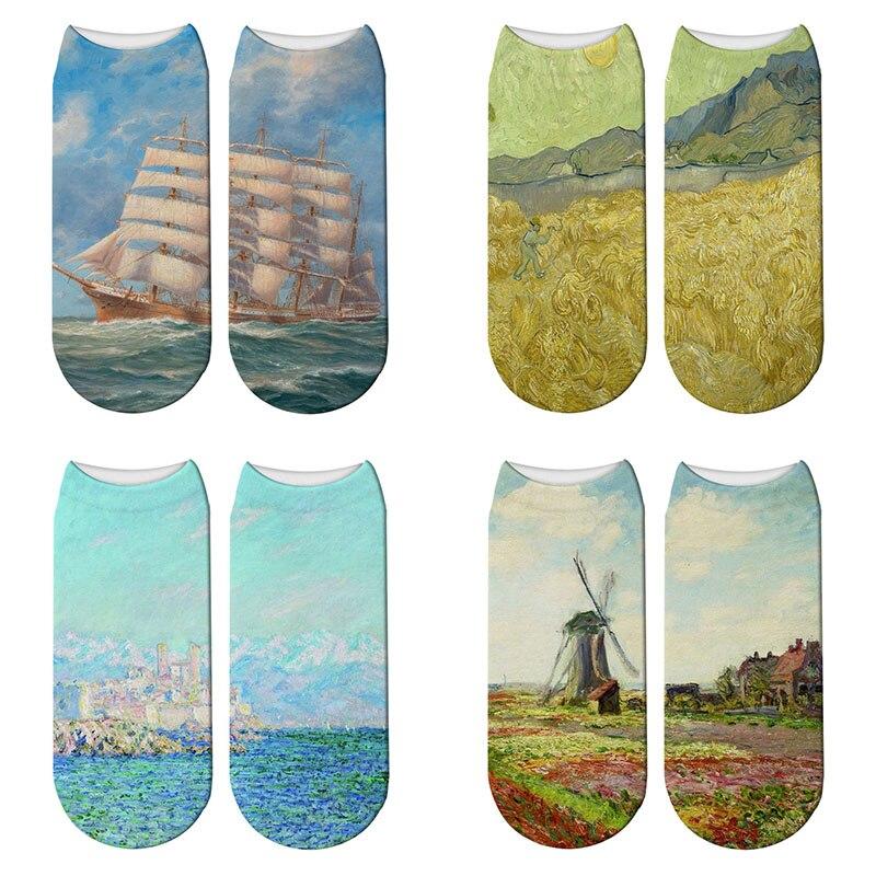 NEW 3D Printed Retro Painting Art Socks Unisex Women Child Funny Oil Painting Short Socks Ink Painting Calcetines Mujer Socks