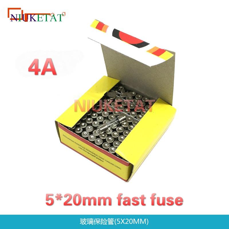 100pcs/box 5*20mm 4A 250V Fast fuse 5*20 F4A 4000mA 250V Glass Fuse New and original 100pcs 2sc6144 c6144to 220f new original