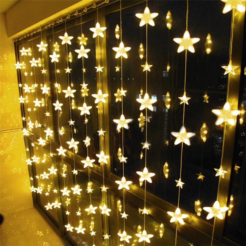 Led Full Star Icicle Christmas LED String fairy light 8 Mode Outdoor Wedding Holiday Fairy Star Icicle Curtain Light led star ca 410