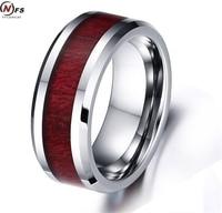 NFS 8mm Tungsten Carbide Ring Koa Wood Inlay Wedding Band For Men Women High Polished Edges