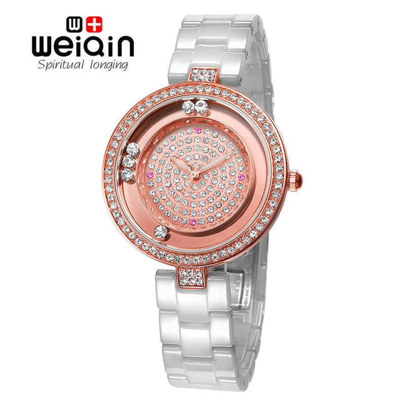 Free Ship WEIQIN 2017 Women Fashion Watch Brand Luxury Ceramic Band Watches Ladies Rose Gold Wrist Watch Quartz Hours Feminino weiqin real ceramic women watch brand luxury diamond fashion watches ladies rose gold wrist watch quartz hours relogios feminino