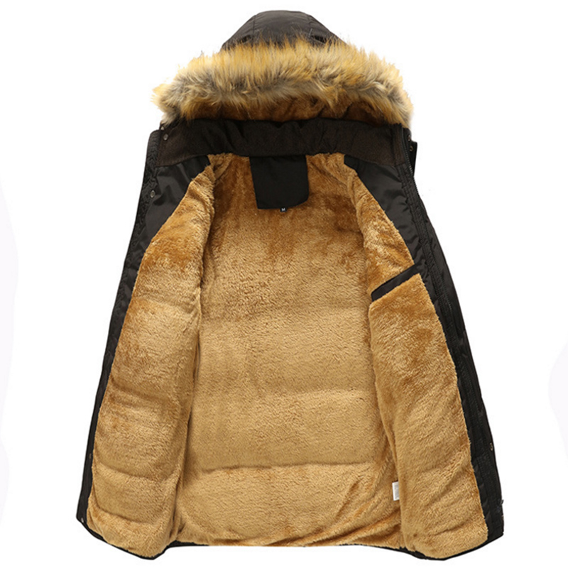 69feef94d3671 Plus Size 5XL Men Warm Winter Coat Varsity Thick Fleece Khaki Parka Casual  Hooded Multi pocket Men Coat Jacket Black-in Parkas from Men s Clothing ...