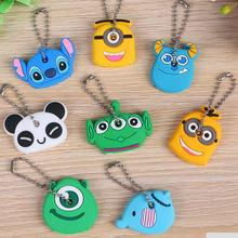 Fashion 20 Pieces Cute Cartoon Elephant Keychain Silicone Key Cover Caps Chains Ring Holder Student Gifts