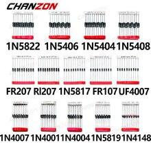 200pcs Schottky Diodo de Comutação Rápida Assorted Kit 1N4001 1N4004 1N4007 1N5408 UF4007 FR207 1N5817 1N5819 1N5822 1N4148 RL207