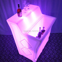 Modern commercial lighting Color Changing Rechargeable PE LED high cocktail bar tables counter of BAR Lumineux KRUG SQUARE