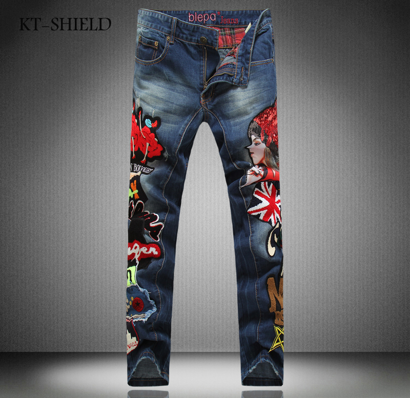 Printed Men Jeans Fashion Embroidered cotton man cargo pants Famous Brand Colorful denim trousers Hip Hop zipper men Harem Pants 2016 men jeans denim zipper fly cargo pants softener mid cotton shorts lightweight print brand new loose yellow green