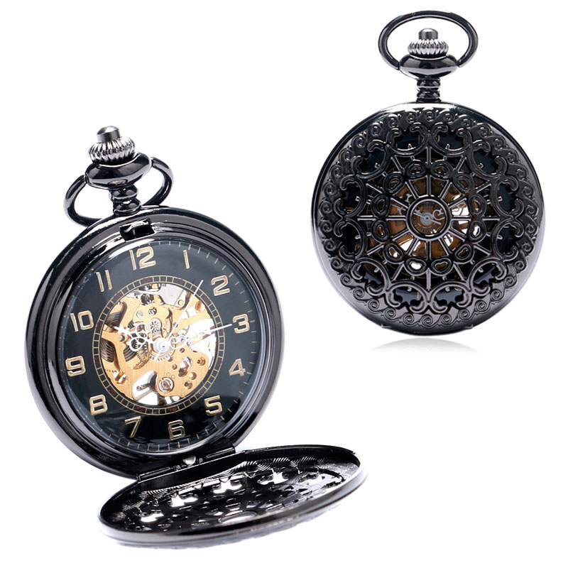 New Black Retro Hollow Pattern Case With Skeleton Steampunk Mechanical Pocket Watch With Chain Free ShippingNew Black Retro Hollow Pattern Case With Skeleton Steampunk Mechanical Pocket Watch With Chain Free Shipping