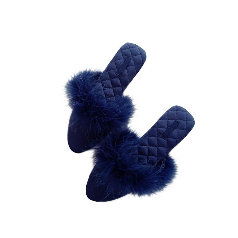 Millffy Punta negro Oficina azul Zapatillas Inicio Mujeres Belleza Cerrada Moda Feather Beige Mute rojo Palacio Satin Sandalias 1xTnx