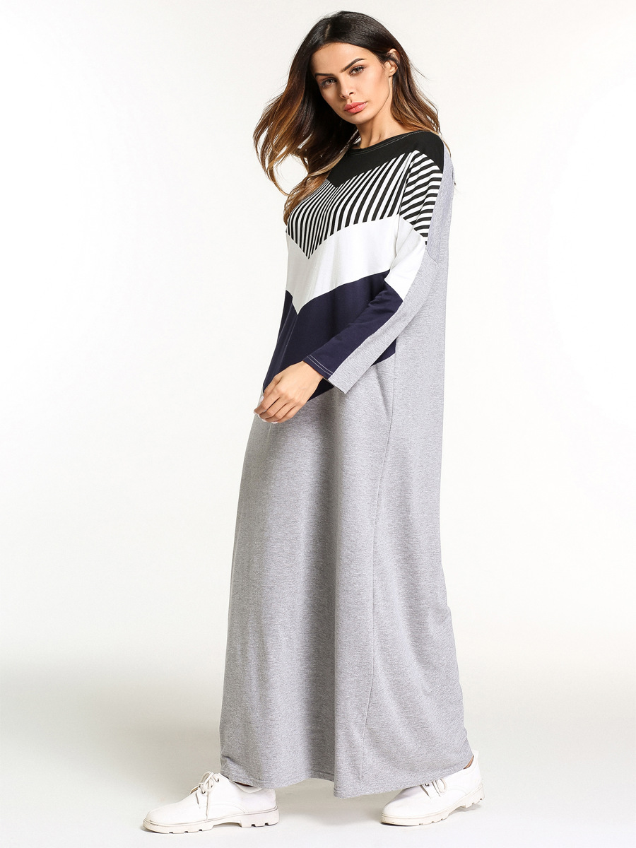 185740 Muslim Middle Eastern Muslim Women 39 s Dress European and American Long Skirt Collar Collar Striped Spliced Dress in Islamic Clothing from Novelty amp Special Use