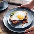 1PC KINGLANG Retro Japanischen Stil Ladegerät Platter Keramik Abendessen Fleisch Platte Westlichen Frühstück Tablett QINGX|Geschirr & Platten|   -