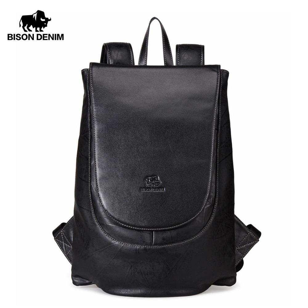 BISON DENIM Large Capacity Backpack 15 6 inches Laptop Backpacks For Teenager Fashion Travel Waterproof Men