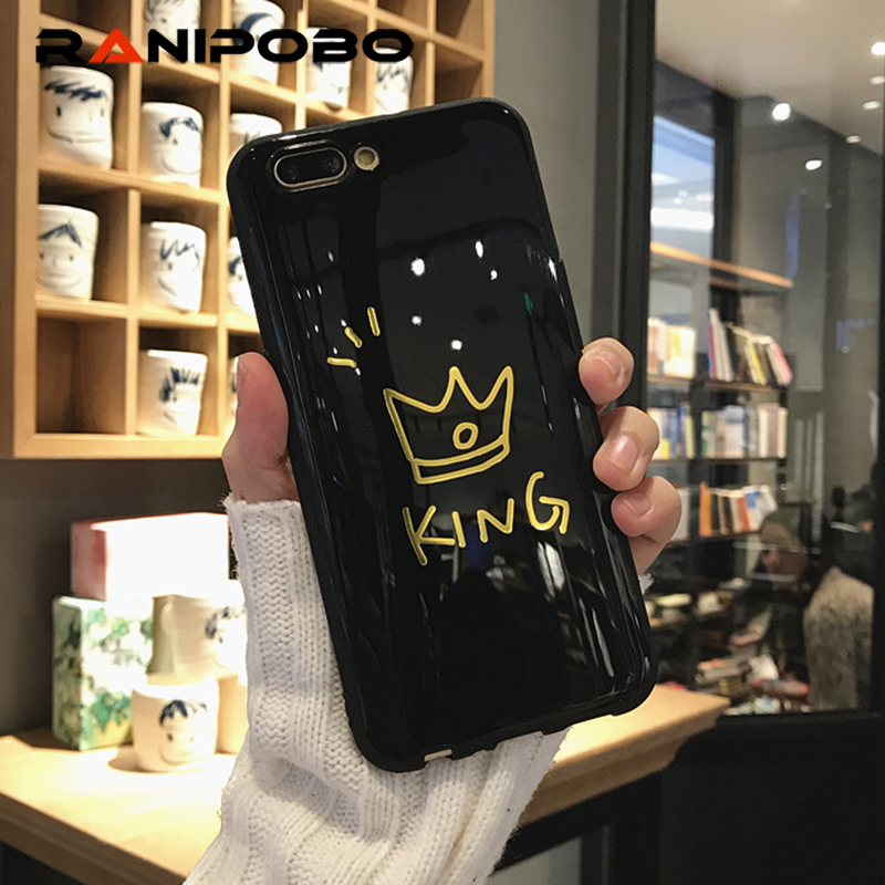 Fashion Glossy Crown Phone Case For iPhone 6 6s Letter KING QUEEN Soft TPU Back Cover Couples Cases For iPhone X 8 7 6S Plus